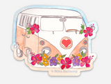 Tropical Flowers Peach and White 70's Surf Van Sticker. Cool Hawaiian Style tropics Decal - Mika Harmony