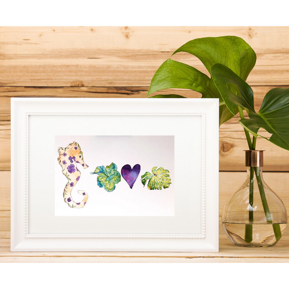 Ocean Alphabet LOVE: Purple Seahorse, Green Monstera and more Hawaiian 5x7 Art Print - Mika Harmony
