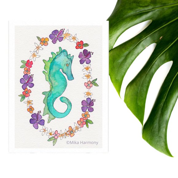 Gorgeous Emerald Green Seahorse with tropical floral wreath: 5x7 print - Mika Harmony