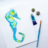 Original Seahorse Watercolor: Starry Eyed Seahorse in the teal/blue/green colors of the Pacific Ocean