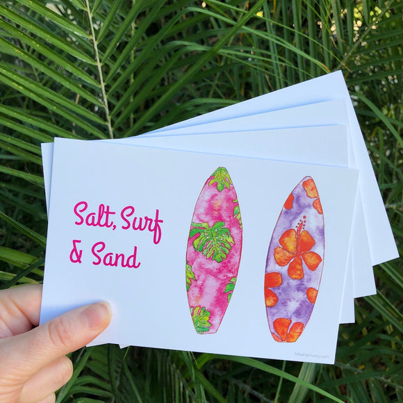 Postcard Set! Surfboards and Ocean quote. Set of 4 postcards. - Mika Harmony