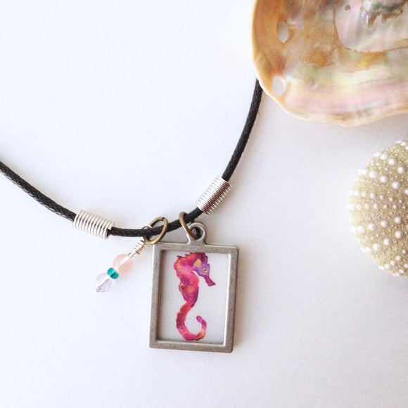 Beach Babe Pink Seahorse Necklace, great gift under $30