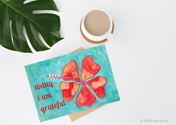 Grateful quote with Orange Hibiscus Printable - Mika Harmony