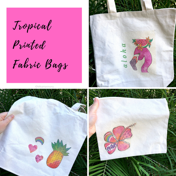Printed Fabric tote Bags with tropical designs: limited quantity available! - Mika Harmony