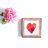 "Heart Art for your floral loving friend. Great Gift idea in reds and orange. ""Rosebud Blush Heart"" Original watercolor - Mika Harmony"