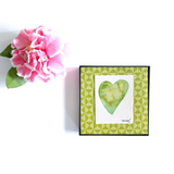 Lime Coconut Heart Watercolor. Great tropical themed gift! Lime and yellow framed art - Mika Harmony