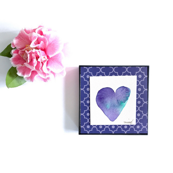 Purple and Green watercolor Heart Art.
