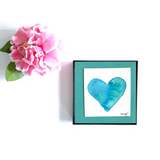 """Coastal Breeze"" Watercolor Heart sharing a feeling of beach breezes and happy times. Great Galentine's Gift idea! - Mika Harmony"