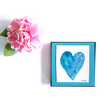 """High Tide"" Heart watercolor in deep blue sea colors and turquoise seafoam accents. Celebrate a love of the sea! - Mika Harmony"