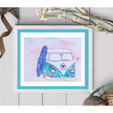 Iconic California Teal and White Surf Van featuring a cobalt blue longboard. Beach Vibes! 5x7 ART PRINT - Mika Harmony