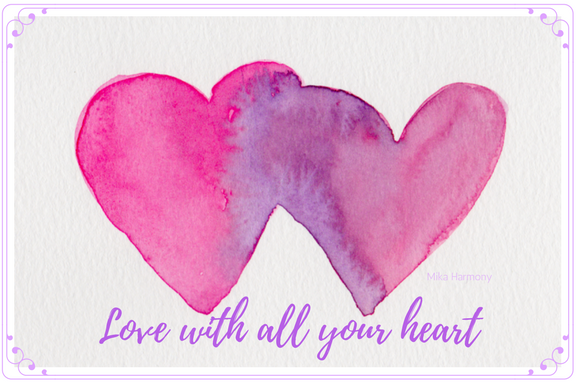 Pair of Watercolor Hearts and quote. Love with all your heart. Pinks and Purples, Sized 6x4