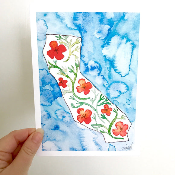 California state flower watercolor print for Cali lovers