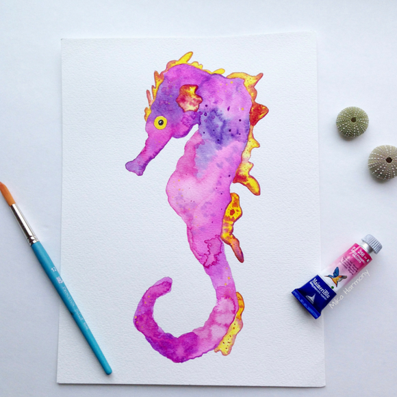Original Seahorse Watercolor: Shannon Sea Dragon in pinks/oranges and yellows.