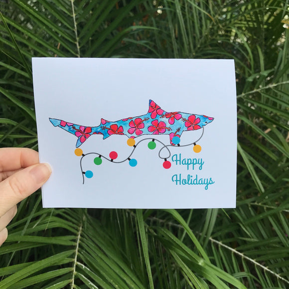 Sharky Christmas Card Set: 4 cards, featuring our watercolor Hibiscus Shark and a fun string of Xmas lights! - Mika Harmony