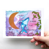 """Waxing Crescent Whale"" watercolor art print"