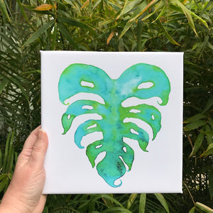 Spring Green Heart Monstera Leaf Watercolor print on 8x8 canvas. Hawaiian tropical leaf art