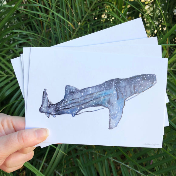 Postcard Set! Navy and White Whale Shark, watercolor design. Set of 4 postcards. - Mika Harmony