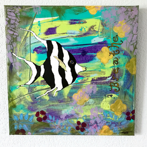 "ORIGINAL PAINTING, Black and White Moorish Idol swimming through the sea, ""Calm Beneath The Sea"" 12x12 original acrylic painting - Mika Harmony"