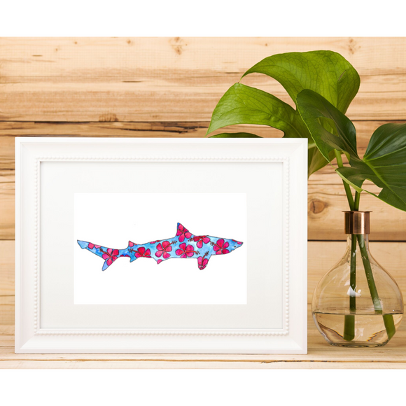5x7 ART PRINT: Blue and Pink Hibiscus Shark - Mika Harmony