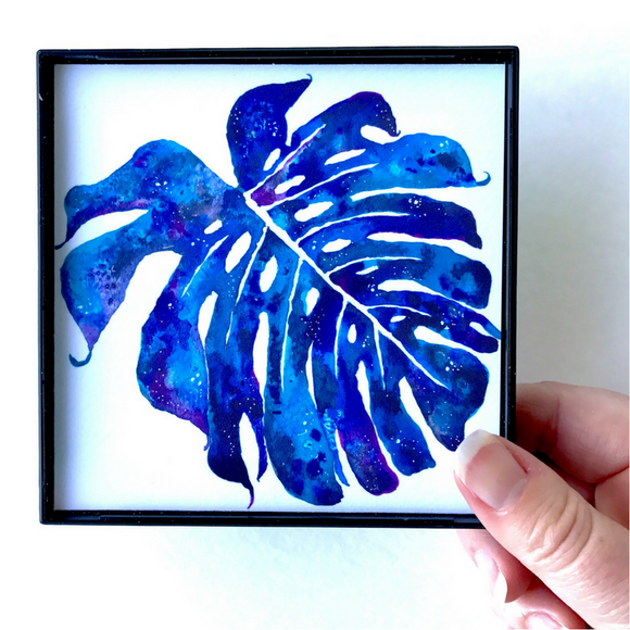 Brilliant Navy and Cobalt Blue with Purple Monstera watercolor 4x4 Mini Print ready to hang!