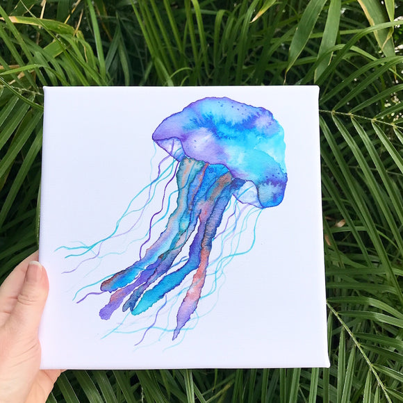 Jellyfish Watercolor Painting on Canvas: 8x8, ready to hang! Tropical Ocean Colors