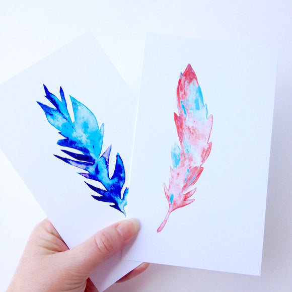 Boho Chic feathers in watercolor, 2 sizes to choose from