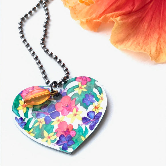 Light and breezy heart shaped tropical flower necklace, great gift under $25 - Mika Harmony