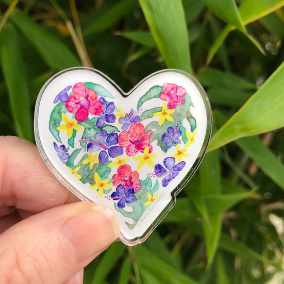 Hawaiian Botanical Heart Acrylic pin