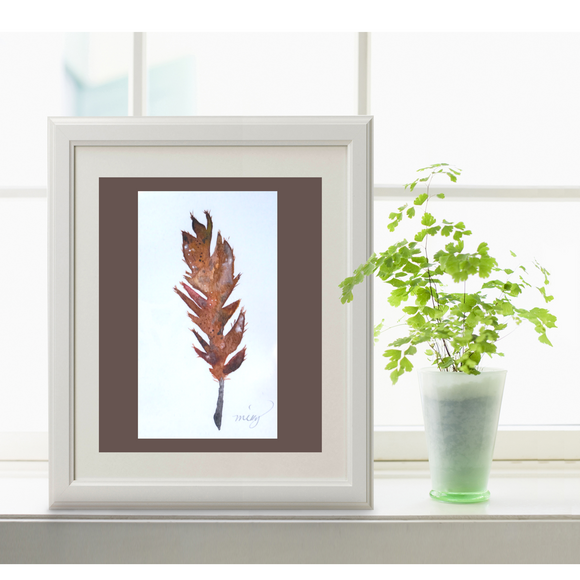 Owl Feather watercolor art print, in warm fall colors - Mika Harmony