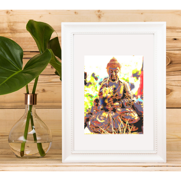 Mini Print Peaceful Zen Buddha Artwork, perfect for yoga spaces, meditation rooms or anywhere you need some calming decor - Mika Harmony