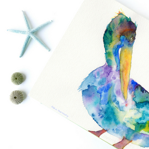 Coastal California Pelican watercolor in gorgeous blue and green shades to celebrate your love of the sea