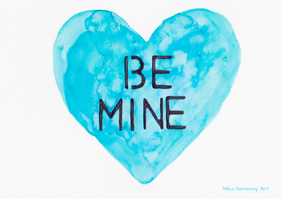 Turquoise watercolor heart