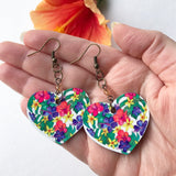 Earrings full of Aloha! Botanical Hearts printed with orchids and plumeria and Monstera leaves - Mika Harmony