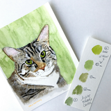 "ORIGINAL ""True"" Dog  or ""True"" Cat realistic-style Watercolor Illustration + a set of 4 notecards for you"