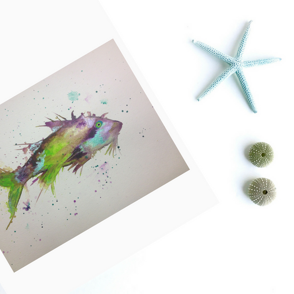 Tropical fish painting in splashy watercolors- Goatfish art print
