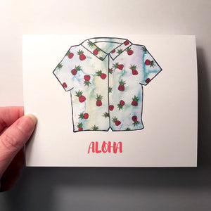 Aloha Shirt Greeting Card Sets: Pineapple or Plumeria Print: SET of 4 cards