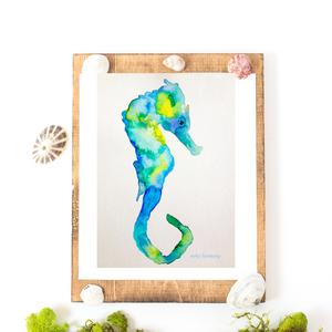 Instant Gift: Printable Blue Green Watercolor Seahorse Art! Perfect for beach lovers, Hawaii fans and marine biologists!