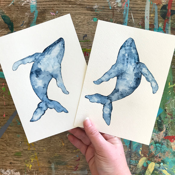 5x7 Original Indigo Blue and White Humpback Whale watercolor painting