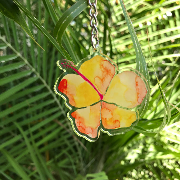 Orange Watercolor Hibiscus Acrylic Charm Keychain - Mika Harmony