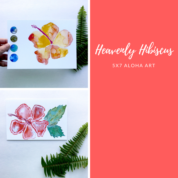 Heavenly Hibiscus Aloha Watercolor Art Prints, several different designs- size 5x7 - Mika Harmony