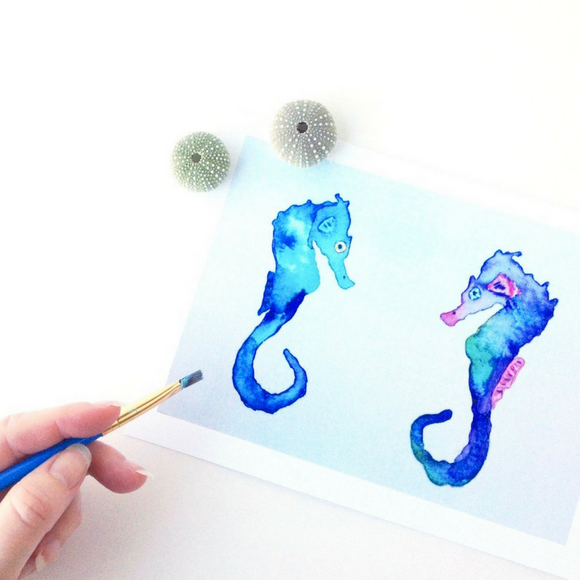 Seahorse Pair in blue, purple and green watercolors in soft, cool tones: Art Print in 5x7 or 8x10
