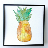 Fresh Fall Pineapple Watercolors! 4x4 vibrant Aloha Art, framed and ready to hang. Frame included in price!
