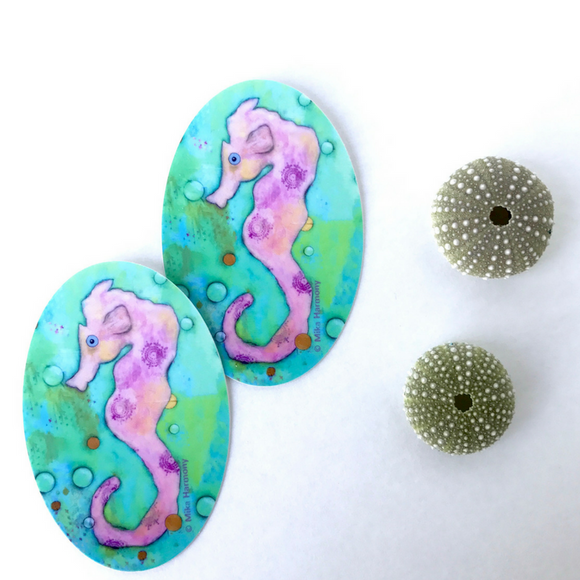 Pastel Pink Seahorse in a bubble Sea of Greens Sticker