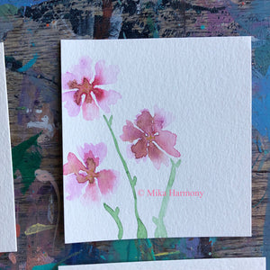 Delicate floral original watercolors: SIZE 3.5 x 3.5 in pastel pinks, purples, blues and greens. FREE US SHIPPING - Mika Harmony