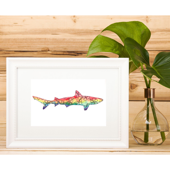 Rainbow colored Hibiscus Hawaiian Shark watercolor - Mika Harmony