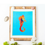 Tropical Ocean Vibes with this Tangerine Seahorse Artwork- 2 sizes to choose from!