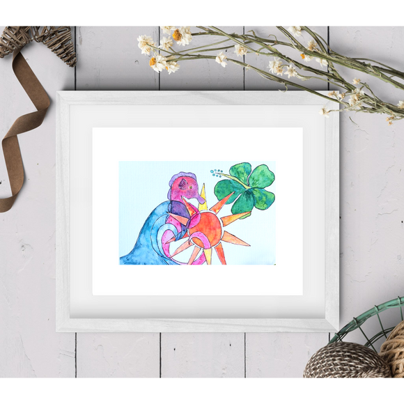 Abstract Seahorse and Wave Print - Mika Harmony