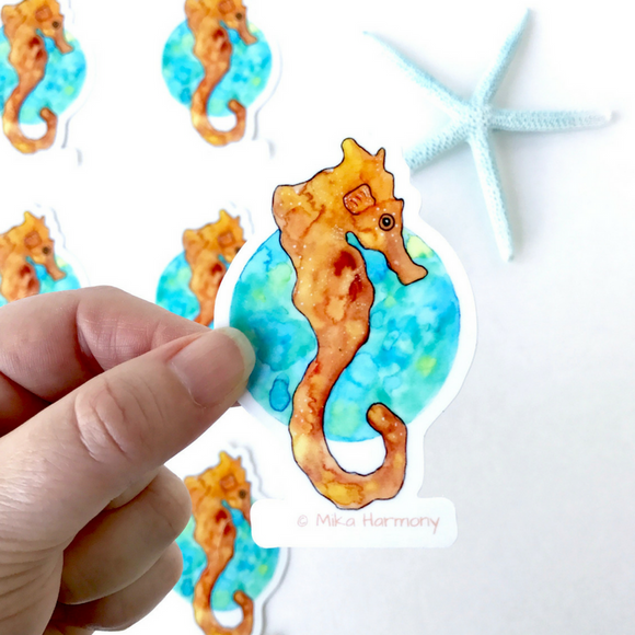 Orange Seahorse on Green and Blue Globe Water Droplet Watercolor Vinyl Stickers