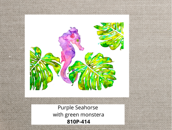 8x10 watercolor art print. Seahorse and Monstera purple and green colorful art