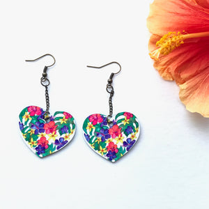 Tropical Monstera and Hawaiian flower earrings - Mika Harmony
